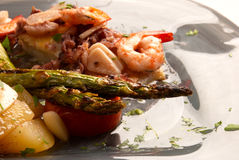 Mediterranean starter. Spanish cuisine, fancy seafood and vegetable starter Royalty Free Stock Photo