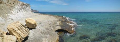 Mediterranean stone coastline in Almeria, Spain Royalty Free Stock Photo