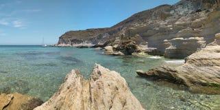 Mediterranean stone coastline in Almeria, Spain Royalty Free Stock Image