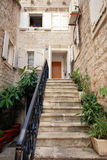 Mediterranean stone house with steps Royalty Free Stock Photography