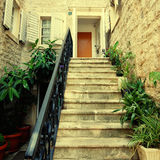 Mediterranean stone house with steps Stock Images