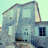 Mediterranean stone medieval house Stock Photo