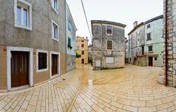 Mediterranean street. Rainy day at small Mediterranean medieval city stock photos