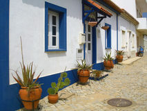 Mediterranean street in Portugal stock images