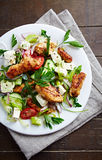 Mediterranean-style chicken salad with feta cheese. Close up Royalty Free Stock Photos