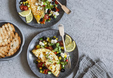 Mediterranean style omelet on a light background, top view. Healthy food Royalty Free Stock Images