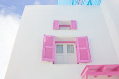 Mediterranean Style Open Pink Window. Royalty Free Stock Photos