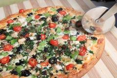 Mediterranean style pizza Royalty Free Stock Photo