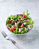 Mediterranean-style salad with feta, endive and green olives stock photo