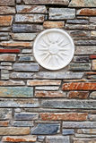 Mediterranean style stone wall. With tiles in Greece Royalty Free Stock Photography