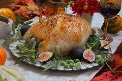 Mediterranean Style Whole Roasted Turkey Breast. Whole roasted turkey breast, Mediterranean style, garnished with fresh figs, olives, and herbs. Surrounded by Stock Photo