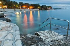 Mediterranean sumer resort with Adriatic sea beach at evening Royalty Free Stock Photography