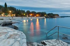Mediterranean sumer resort with Adriatic sea beach at evening Royalty Free Stock Photos