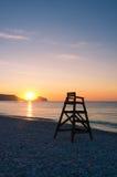 Mediterranean sunrise in Altea beach stock photography