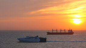 Mediterranean Sunrise. The sun rises over shipping off Gibraltar Stock Images