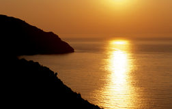 Mediterranean sunset. A calmed sunset in the mediterranean sea royalty free stock photography