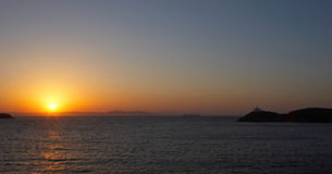 Mediterranean Sunset. This beautiful sunset was photographed from the town of Korissia on the Greek island of Kea Stock Photography