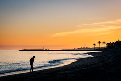 Mediterranean sunset in Marbella, Costa del Sol, Spain Royalty Free Stock Image