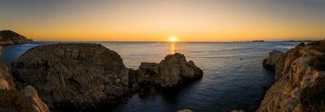 Mediterranean sunset panorama Stock Images