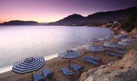 Mediterranean Sunset at Pefkos Stock Photos