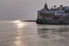 Mediterranean sunset in Sitges, Spain Royalty Free Stock Images