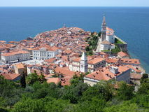 Mediterranean Town. Piran, a pictoresque town on the Adriatic Sea coast of Slovenia Stock Image