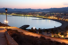 Mediterranean town Aguilas at night. Spain Royalty Free Stock Photo