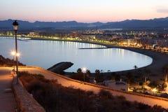 Mediterranean town Aguilas at night. Spain. Mediterranean town Aguilas at night. Province of Murcia, Spain Royalty Free Stock Photo