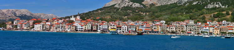 Mediterranean town Baska panorama Stock Images