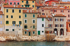 Mediterranean town cityscape. Typical southern europe town with houses standing over the water royalty free stock images