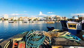 Mediterranean town from fishing port. L'Ampolla Royalty Free Stock Image