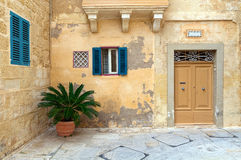 Mediterranean Town House. In quiet courtyard stock photos