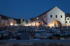 Mediterranean town Hvar at night Stock Image