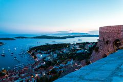 Mediterranean town Hvar at night Royalty Free Stock Images