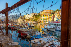 Mediterranean Town in Liguria - marina harbor with fish boats Royalty Free Stock Images