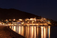 Mediterranean town at night Stock Photos