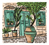 Mediterranean town painting. The Mediterranean town house style, hand drawn painting Royalty Free Stock Photo
