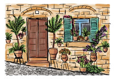 Mediterranean town painting. The Mediterranean town house style, hand drawn painting Stock Images