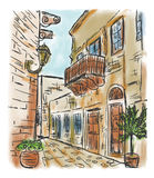 Mediterranean town painting Royalty Free Stock Photography