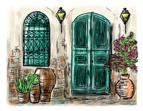 Mediterranean town painting. The Mediterranean town house style, hand drawn painting Royalty Free Stock Photos