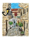 Mediterranean town painting. The Mediterranean town house style, hand drawn painting Stock Photo