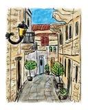 Mediterranean town painting Stock Photo