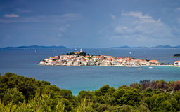 Mediterranean town Primosten, Croatia. Town Primosten in Croatia with stormy sky above Royalty Free Stock Photography