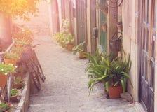 Mediterranean town street sunset Royalty Free Stock Photo
