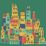 Mediterranean town, sunny village, Indian slums Stock Photo