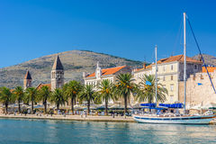 Mediterranean town Trogir in Croatia. Waterfront view at mediterranean scenic in touristic famous destination, town Trogir, Croatia Europe Stock Photos
