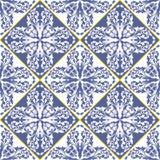 Mediterranean traditional blue and white tile pattern. Arabesque ceramic tile. Stock Photo