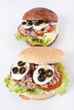 Mediterranean tuna and egg sandwiches Royalty Free Stock Photography