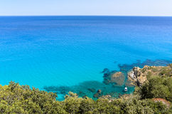 Mediterranean turquoise sea with snorkeling boat under the clear blue sky Stock Photography