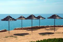 Mediterranean umbrellas. In Cyprus springtime Stock Photo
